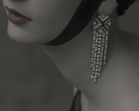 Серьги Charleston,  белое золото, бриллианты, оникс, Chanel Fine Jewelry