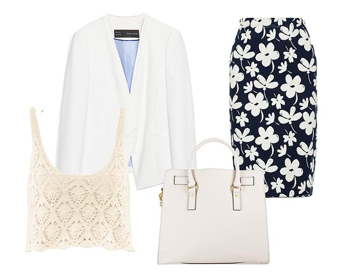 Выбор ELLE: топ H&M, жакет Zara, юбка Marni, сумка Michael Kors