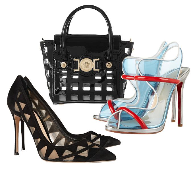 Выбор ELLE: лодочки Gianvito Rossi, босоножки Christian Louboutin, сумка Versace