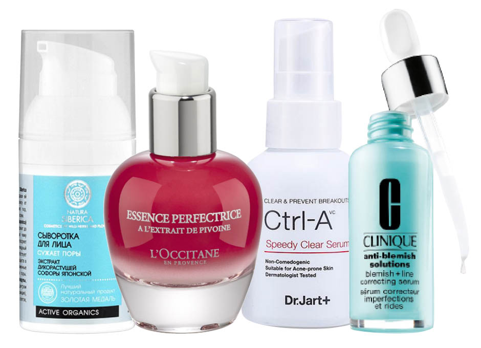 1. Natura Siberica; 2. L'Occitane Pivoine Sublime Skin Perfector; 3. Dr.Jart+ Ctrl-A Speedy Clear Serum; 4. Clinique Anti-Blemish Solutions