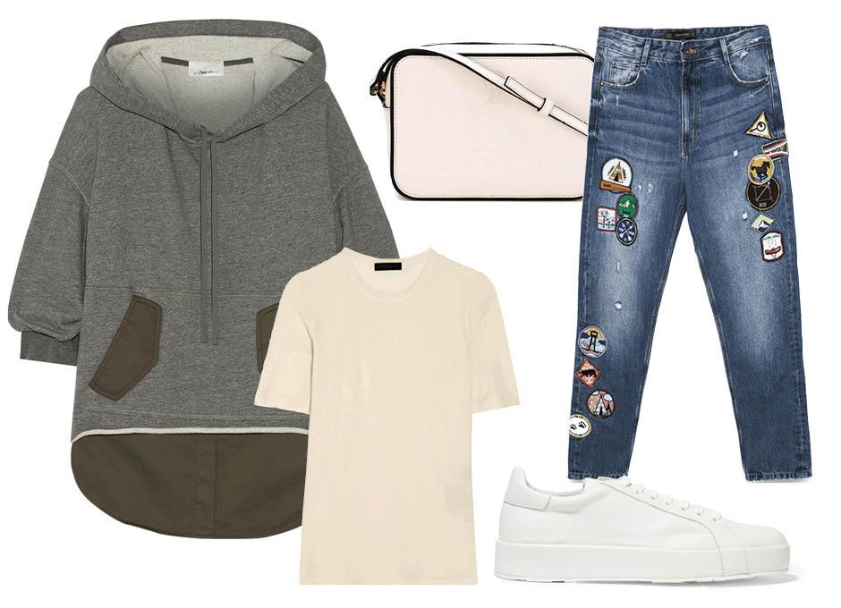 C чем носить худи? джинсы Zara, кеды Jil Sander, футболка Calvin Klein, кросс—боди Lanvin