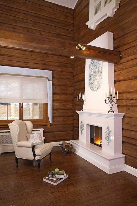 Камин в деревянном доме. Дизайн-бюро Виктории Власовой