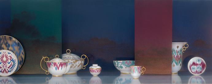 Новая коллекция посуды Voyage en Ikat от Hermès