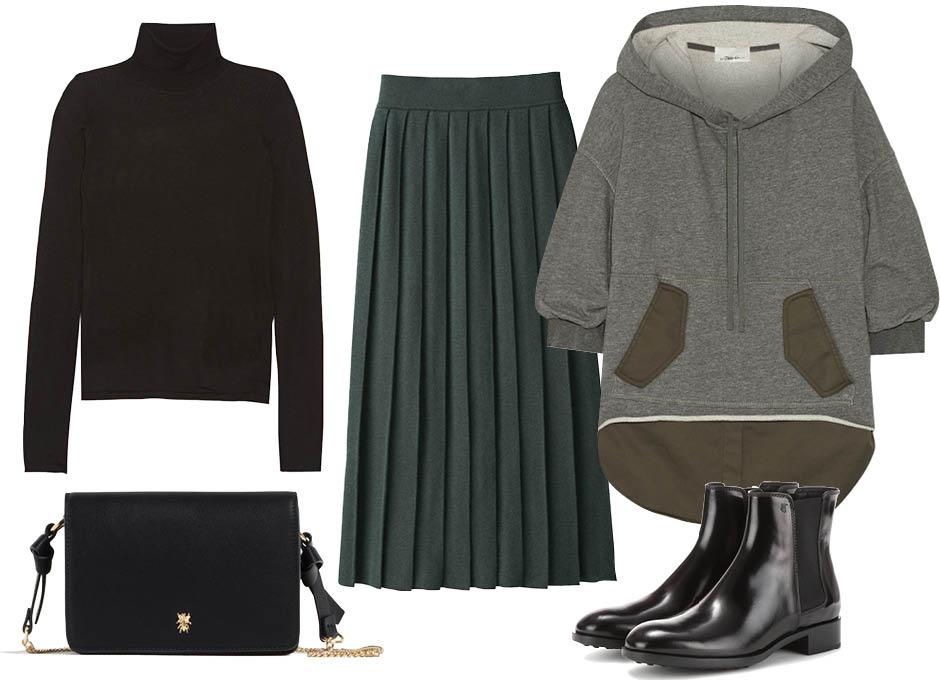 C чем носить худи? юбка Uniqlo, водолазка Joseph, ботильоны Tod's, сумка Zara