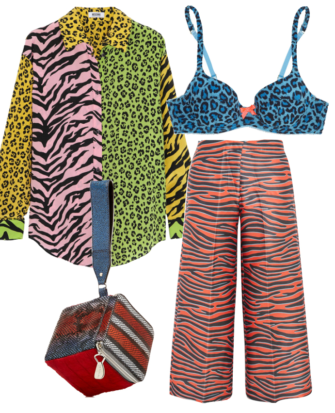 Выбор ELLE: рубашка Moschino Cheap&Chic, бюстгальтер Agent Provocateur, брюки и клатч House of Holland