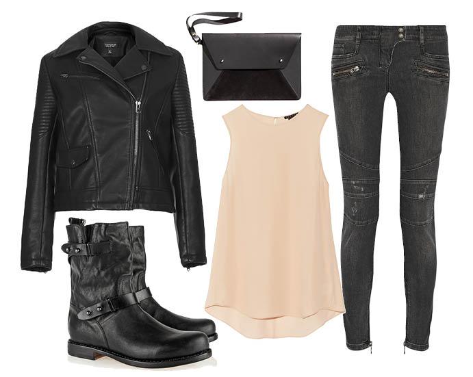 Выбор ELLE: джинсы Balmain, блузка Theory, сапоги Rag&Bone, клатч H&M
