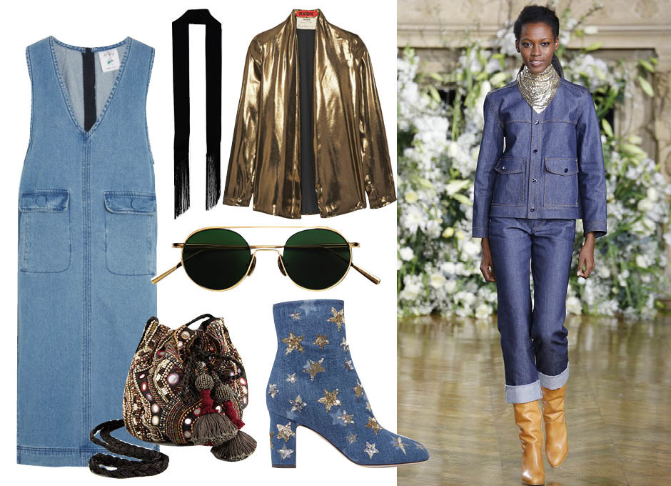 Блузка Ronald Van Der Kemp, платье Steve J & Yoni P, тонкий шарф ASOS, очки Acne Studios, сумка-мешок Zara, ботильоны Valentino, показ Vanessa Seward F/W 16
