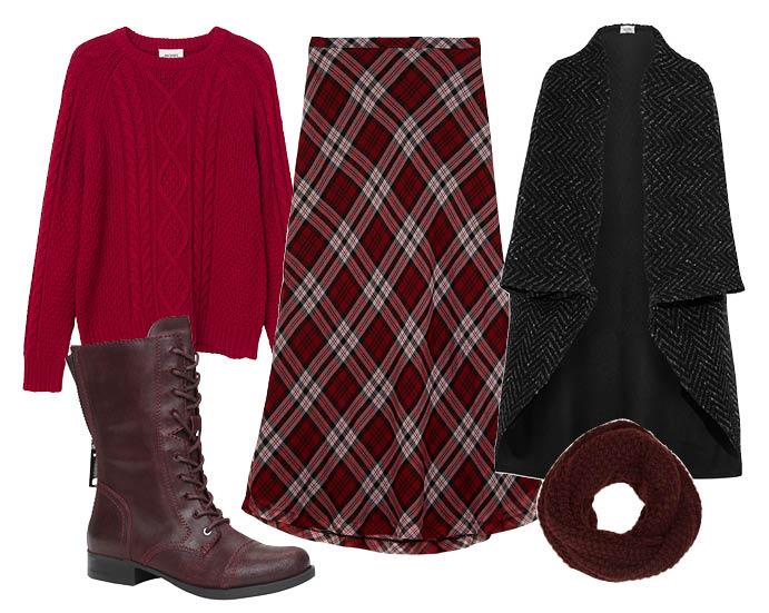 Выбор ELLE: пончо Valentino, свитер Monki, ботинки и шарф-снуд Aldo