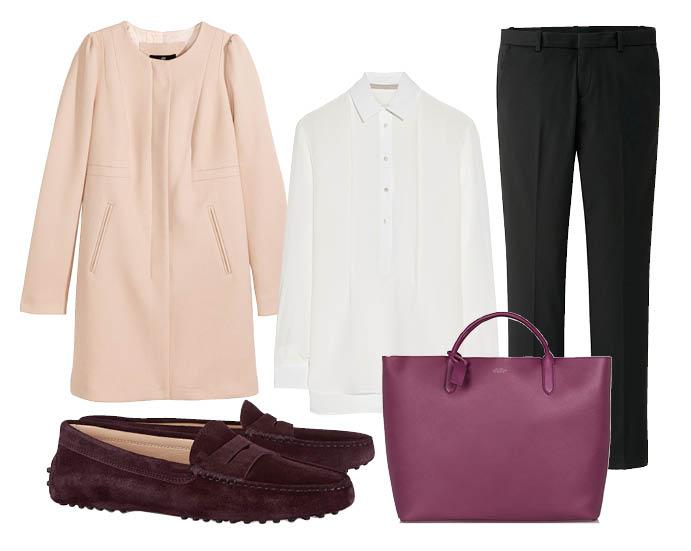 Выбор ELLE: брюки Uniqlo, рубашка Jason Wu, легкое пальто H&M, сумка Smythson