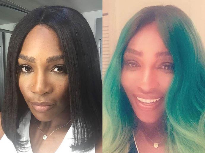 Серена Уильямс продемонстрировала зеленый цвет волос