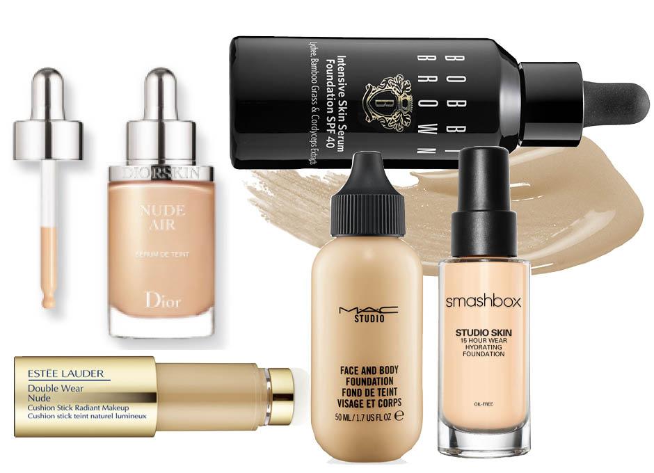 1. Dior Diorskin Nude Air; 2. Bobbi Brown Intensive Skin Serum Foundation; 3. Smashbox Studio Skin; 4. MAC Studio Face & Body Foundation; 5. Estee Lauder Double Wear Nude Cushion Stick