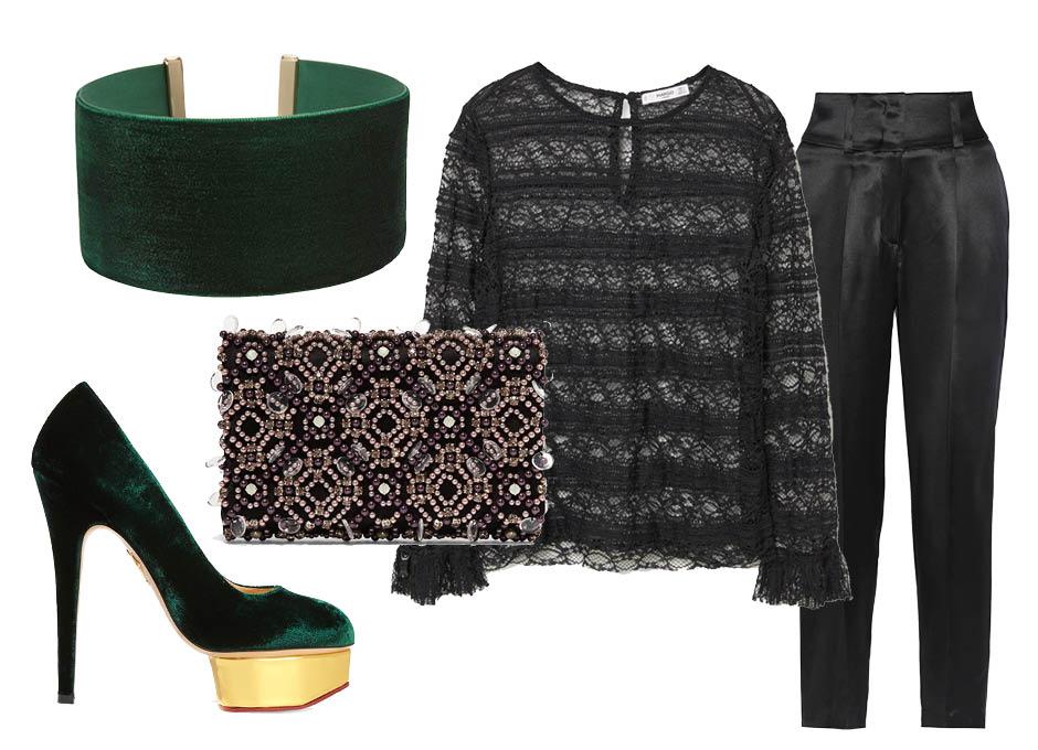 Выбор ELLE: блуза Mango, брюки Givenchy, клатч Oscar de la Renta, бархатные туфли Charlotte Olympia