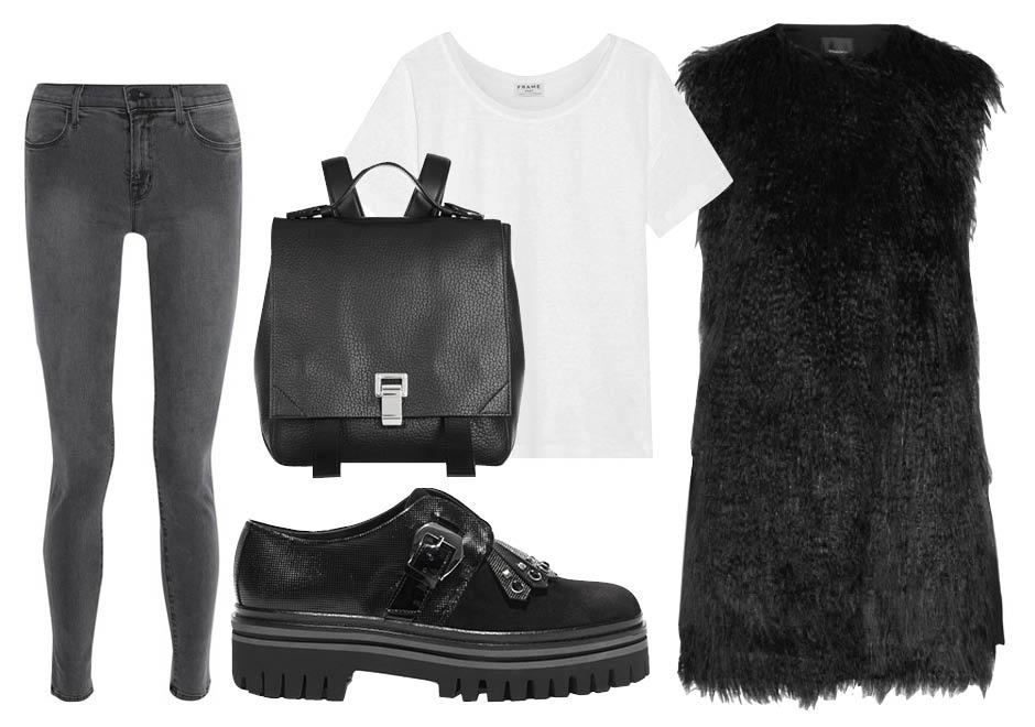 Выбор ELLE: джинсы J Brand, футболка Frame, обувь Alberto Guardiani, рюкзак Proenza Schouler