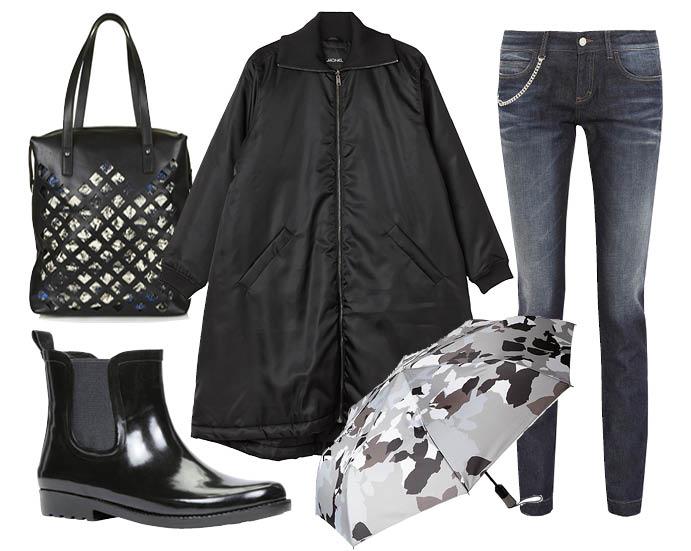 Выбор Elle: джинсы Gucci, галоши Aldo, зонтик GAP, шоппер Topshop