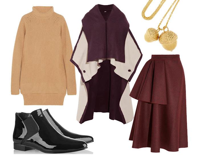 Выбор ELLE: юбка Roksanda Ilincic, ботильоны Miu Miu, накидка Adam Lippes, ожерелье Alexander McQueen