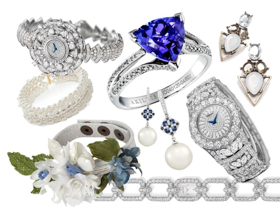 Верхний ряд - часы Bvlgari, жемчужное колье - Simone Rocha, обручальное кольцо - AKILLIS, серьги - Mango; нижний ряд - A LA RUSSE Anastasia Romantsova, серьги - OBERIG jewelry, часы - Chopard, часы - Harry Winston