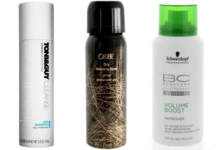 Toni and Guy Cleanse Dry Shampoo; Oribe Dry Texturizing Spray; Schwarzkopf Bonacure Volume Boost Refresher