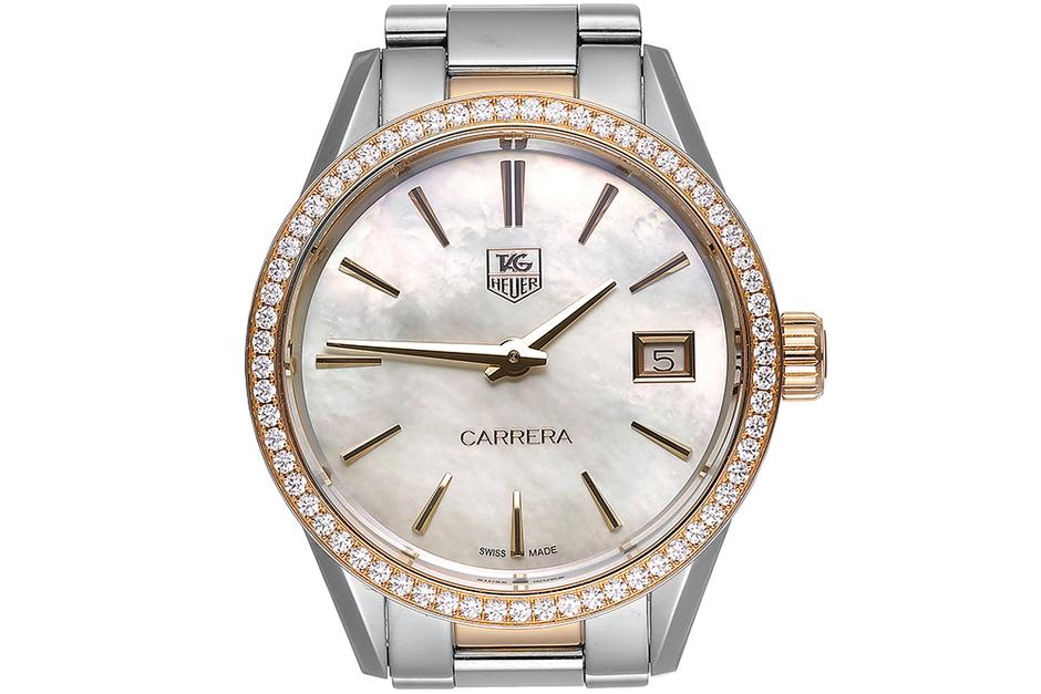 Часы Carrera, сталь, розовое золото, бриллианты, Tag Heuer, 273 700 руб.