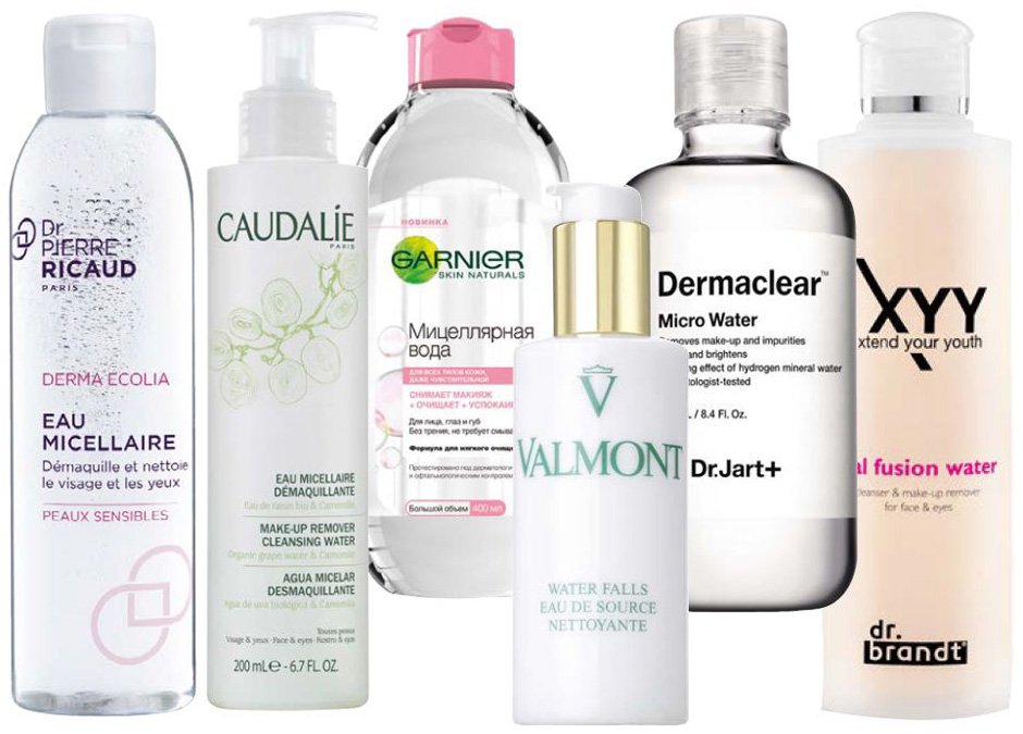 1. Dr Pierre Ricaud Derma Ecolia; 2. Caudalie Make-Up Remover Cleansing Water; 3. Мицеллярная вода Garnier; 4. Valmont Water Falls; 5. Dr.Jart+ Dermaclear Micro Water; 6. dr.brandt XYY Dual Fusion Water