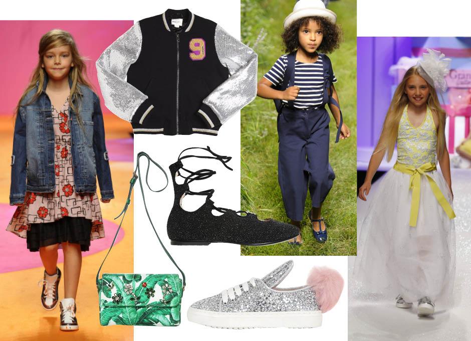 1. показ Il Gufo; 2. бомбер, Diesel Kids; 3. показ Il Gufo; 4. показ Miss Grant; 5. сумка, Dolce & Gabbana; 6. балетки на шнуровке, Ermanno Scervino Junior; 7. кроссовки, Minna Parikka