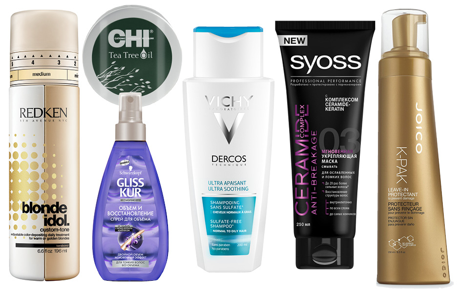 1. Redken Blonde Idol Custom-Tone; 2. CHI Tea Tree Oil Revitalizing Mask; 3. Schwarzkopf Gliss Kur; 4. Vichy Dercos Ultra Soothing Shampoo; 5. Syoss Ceramide Complex Anti-Breakage; 6. Joico K-Pak Leave in Protectant