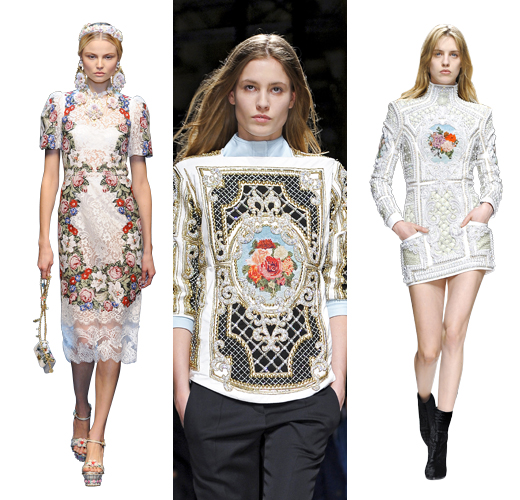 Dolce & Gabbana осень — зима 2012/13; Balmain осень — зима 2012/13