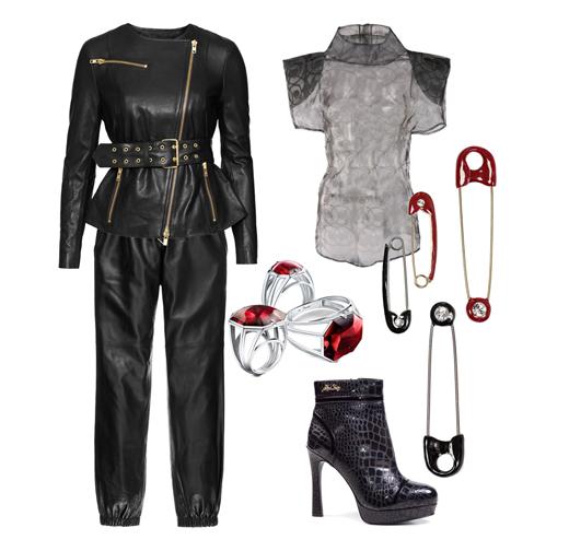 Куртка H&M, топ Basharaatyan V., брюки Juicy Couture, ботильоны Miss Sixty, кольца Baccarat, булавки Sonia Rykiel