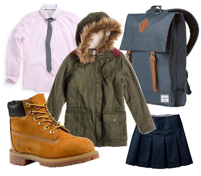 Выбор ELLE: рубашка с галстуком Next, ботинки Timberland, юбка GAP, парка Roxy, рюкзак Herschel