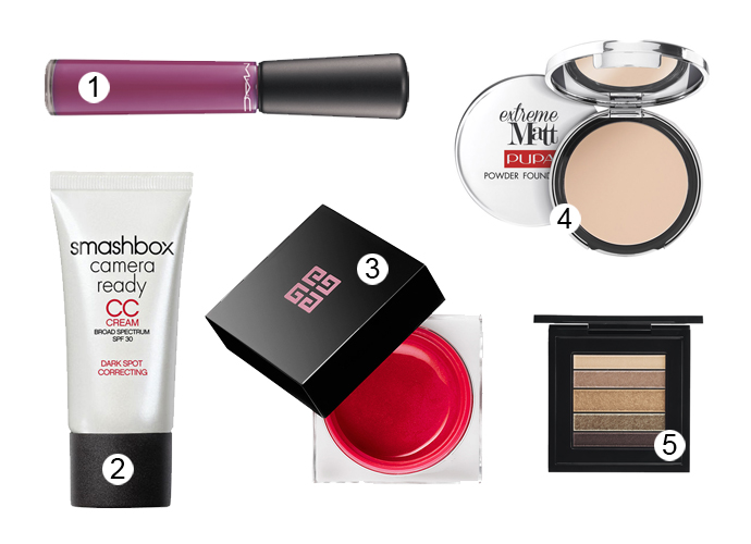 1. Блеск для губ MAC Mineralize Glass; 2. CC-крем Smashbox Camera Ready SPF 30; 3. Румяна Givenchy Extravagancia; 4. Пудра PUPA Extreme Matt Powder Foundation; 5. Тени MAC Brownluxe Veluxe Pearlfusion Eyeshadow Palette