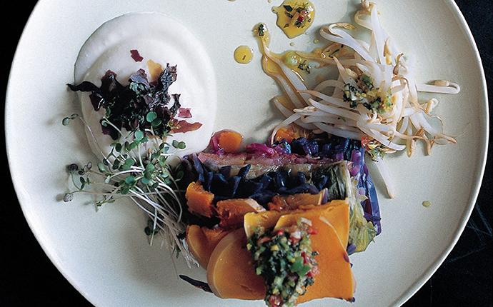 Овощи с кремом из сельдерея