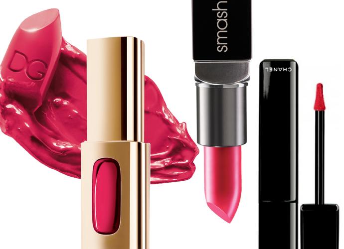 Выбор ELLE: Classic Cream Lipstick, Ballerina, Dolce & Gabbana; Rouge Extraordinaire, 201, L'Oreal Paris; Legendary Lipstick, Electric Pink, Smashbox; Rouge Allure Gloss, Extase, Chanel