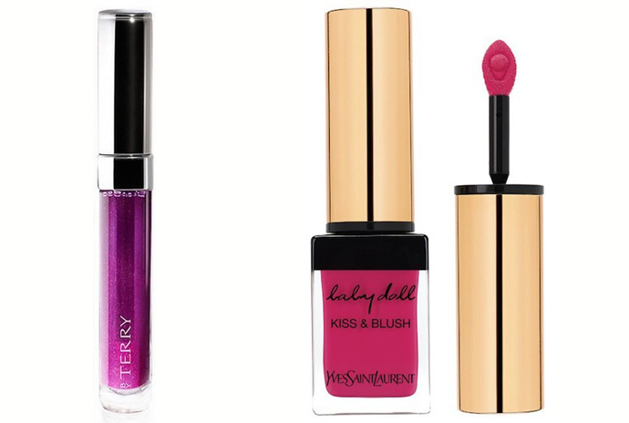 by Terry Tint to Lip Water Color Lipstain, оттенок Pink Palace; YSL Baby Doll Kiss and Blush, оттенок Fuchsia Desinvolte