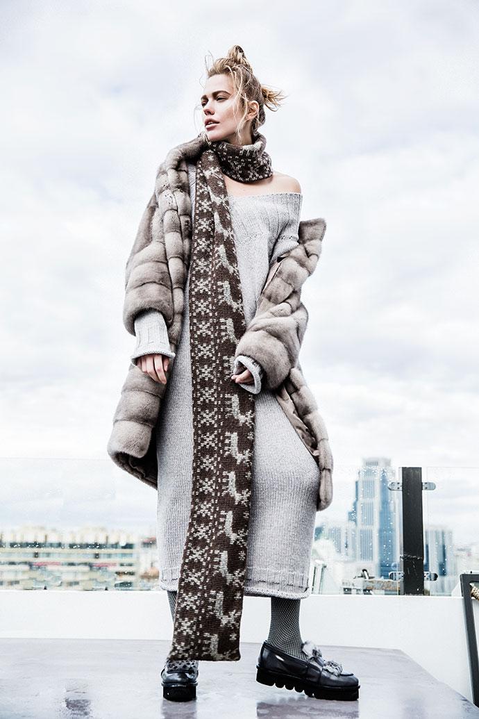 Пальто из меха норки NAFA