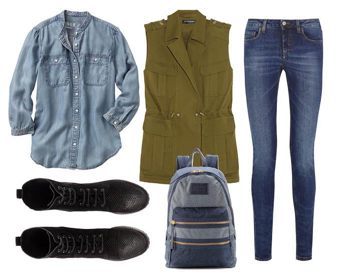 Выбор ELLE: джинсы Victoria Beckham Denim, рубашка GAP, рюкзак Marc by Marc Jacobs, ботинки на шнуровке H&M