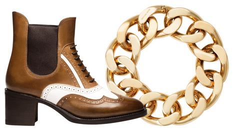 Ботинки, Bally, 30 750 руб.; браслет, Michael Kors, 13 500 руб.