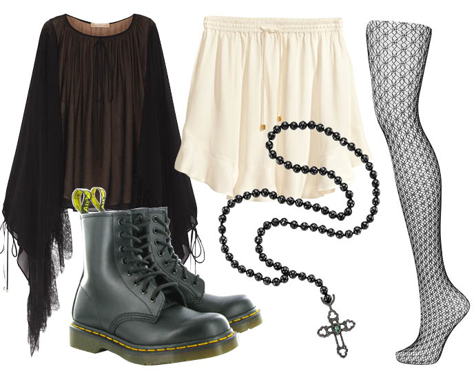 Выбор ELLE: блуза Michael Kors, юбка H&M, колготки Topshop, кулон-подвеска Crow's Nest