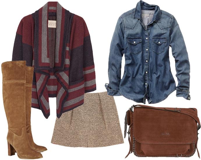 Пальто-пончо с принтом Burberry Brit, джинсовая рубашка GAP, высокие сапоги Michael Kors, юбка Asos, сумка Coach