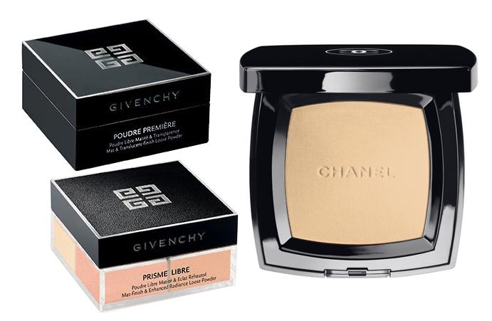 Рассыпчатая пудра Givenchy Prisme Libre; Компактная пудра Chanel Poudre Universelle