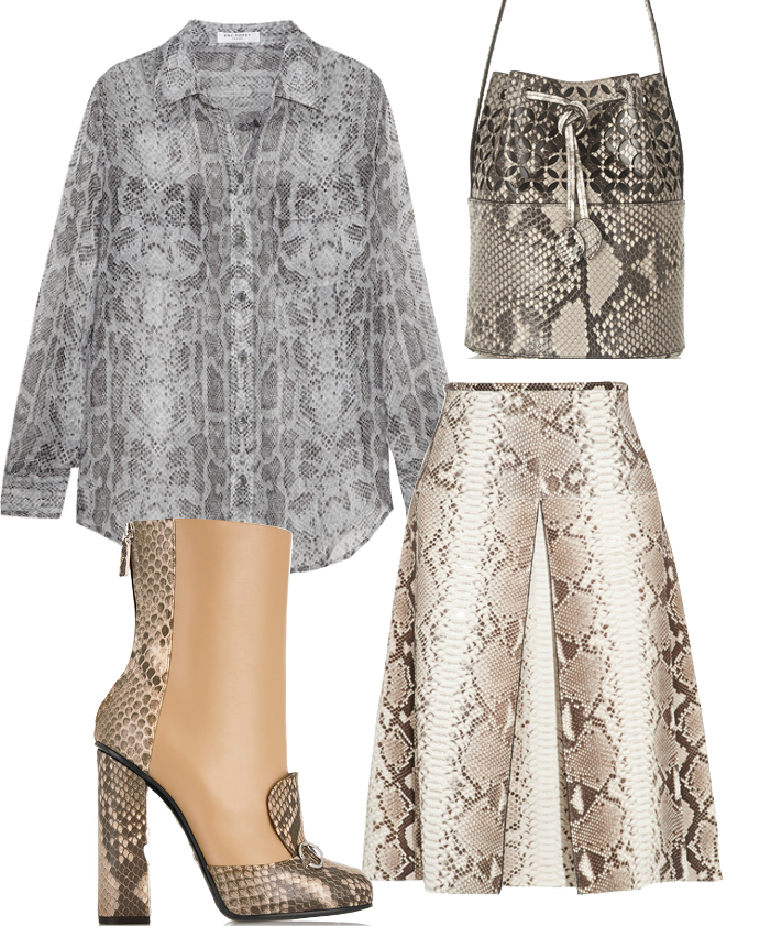 Выбор ELLE: рубашка Equipment, юбка Michael Kors, сумка Alaia, ботильоны Gucci