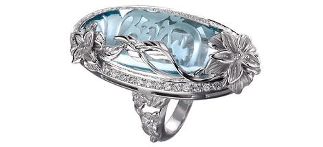 Кольцо Emperatriz Cascada Maxi, белое золото, топаз, бриллианты, Carrera y Carrera, www.carreraycarrera.com