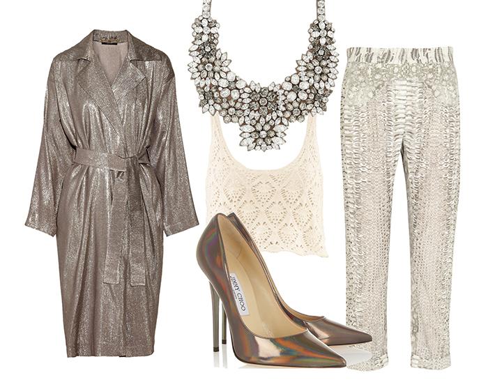 Выбор ELLE: топ H&M, шелковые брюки Roberto Cavalli, позолоченное пальто Gucci, лодочки Jimmy Choo, колье Valentino
