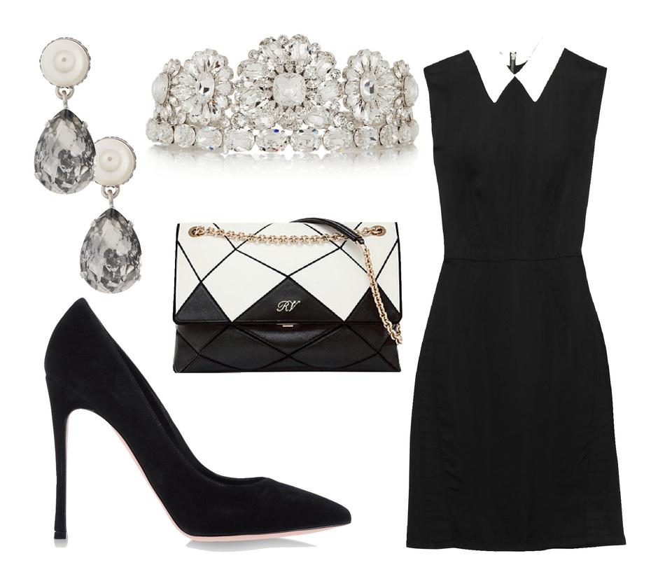 Серьги Givenchy, диадема Dolce&Gabbana, сумка Roger Vivier, платье Miu Miu, туфли Gianvito Rossi
