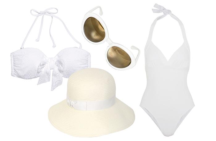 Выбор ELLE: бикини H&M, шляпа Borsalino, солнцезащитные очки Moschino, купальник Eres