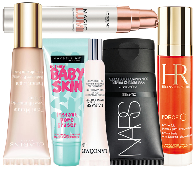1. Clarins Eclat Minute; 2. L'Oreal Paris Magic Lumi; 3. Maybelline NY Baby Skin; 4. Lancome Hydra Glow; 5. NARS Pro-Prime; 6. HELENA RUBINSTEIN FORCE C3
