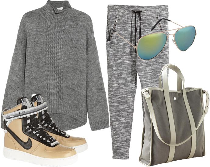 Брюки из шенили H&M, свитер 3.1 Philip Lim, солнцезащитные очки Aldo, кроссовки Nike + Riccardo Tisci, сумка GAP
