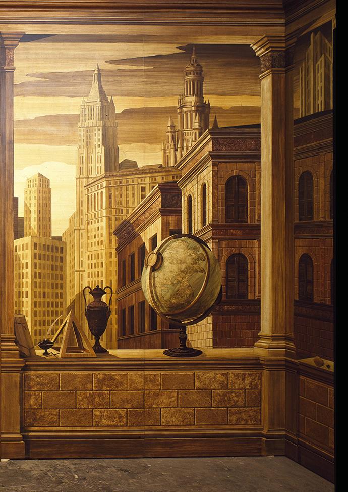 Один из проектов Ренцо — кабинет в нью-йорской квартире с росписями, на которых изображены дворцы эпохи Возрождения на фоне небоскребов.