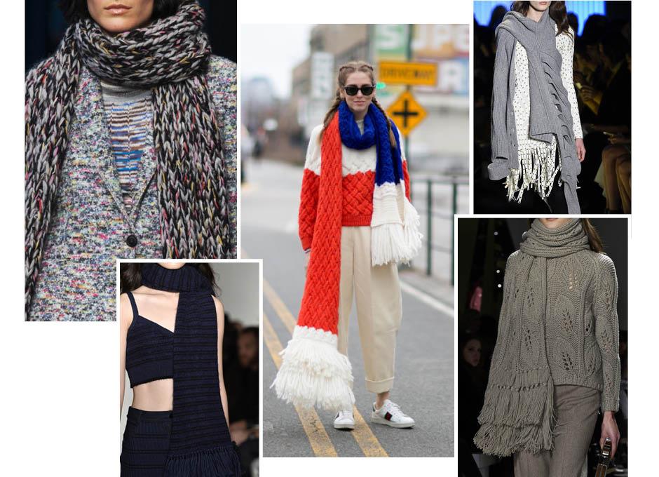 Модные вязаные шарфы осень 2016