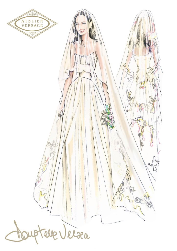 Atelier Versace опубликовали эскиз свадебного платья Анджелины Джоли