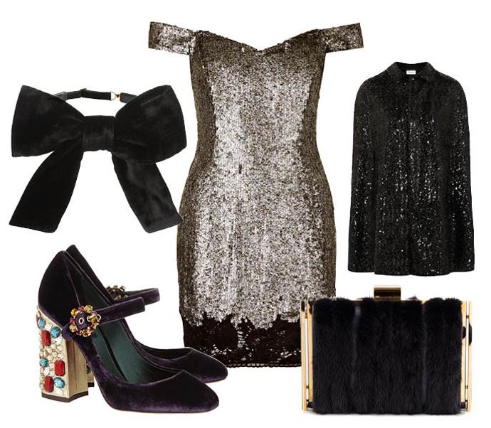 Выбор ELLE: накидка Saint Laurent, клатч Nina Ricci, воротник-бант Saint Laurent, туфли Dolce&Gabbana