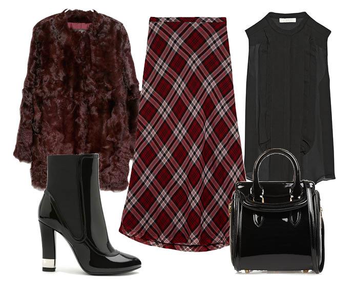 Выбор ELLE: блуза Chloe, шуба Mango, сапоги Casadei, сумка Alexander McQueen